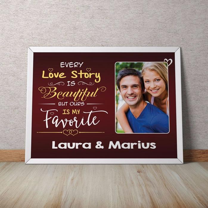Tablou Personalizat Love Story Cu O Poza Si Text