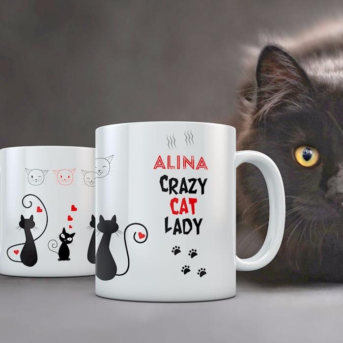 Cana Personalizata Crazy Cat